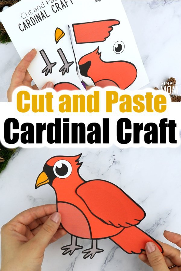 Printable Cut and Paste Cardinal Craft for Kids, preschoolers toddlers and kindergartners