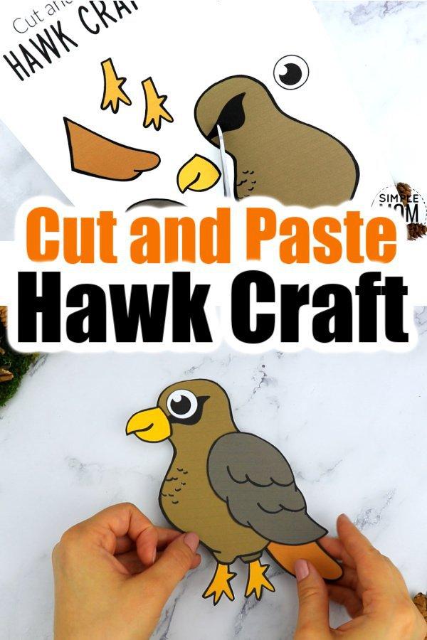 Printable Cut and Paste Hawk Craft for Kids, preschoolers toddlers and kindergartners