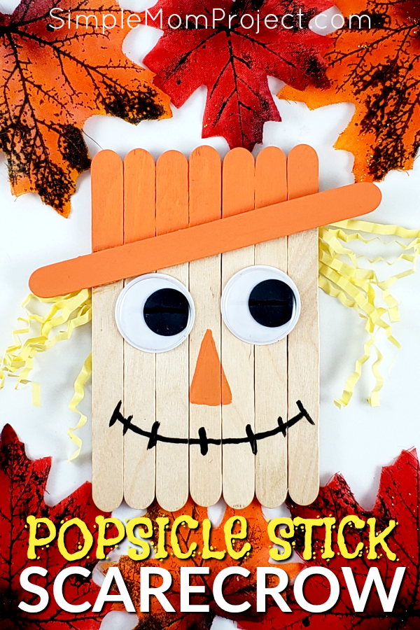 Looking for a fun, DiY Fall or fall party decoration for kids to make? Click now for a cheap, popsicle stick Scarecrow craft tutorial. Do them with your preschoolers in the classroom or at home with your toddlers. This Fall Scarecrow is budget friendly and SO easy to do! #PopsicleSticks #FallCrafts #AutumnCrafts