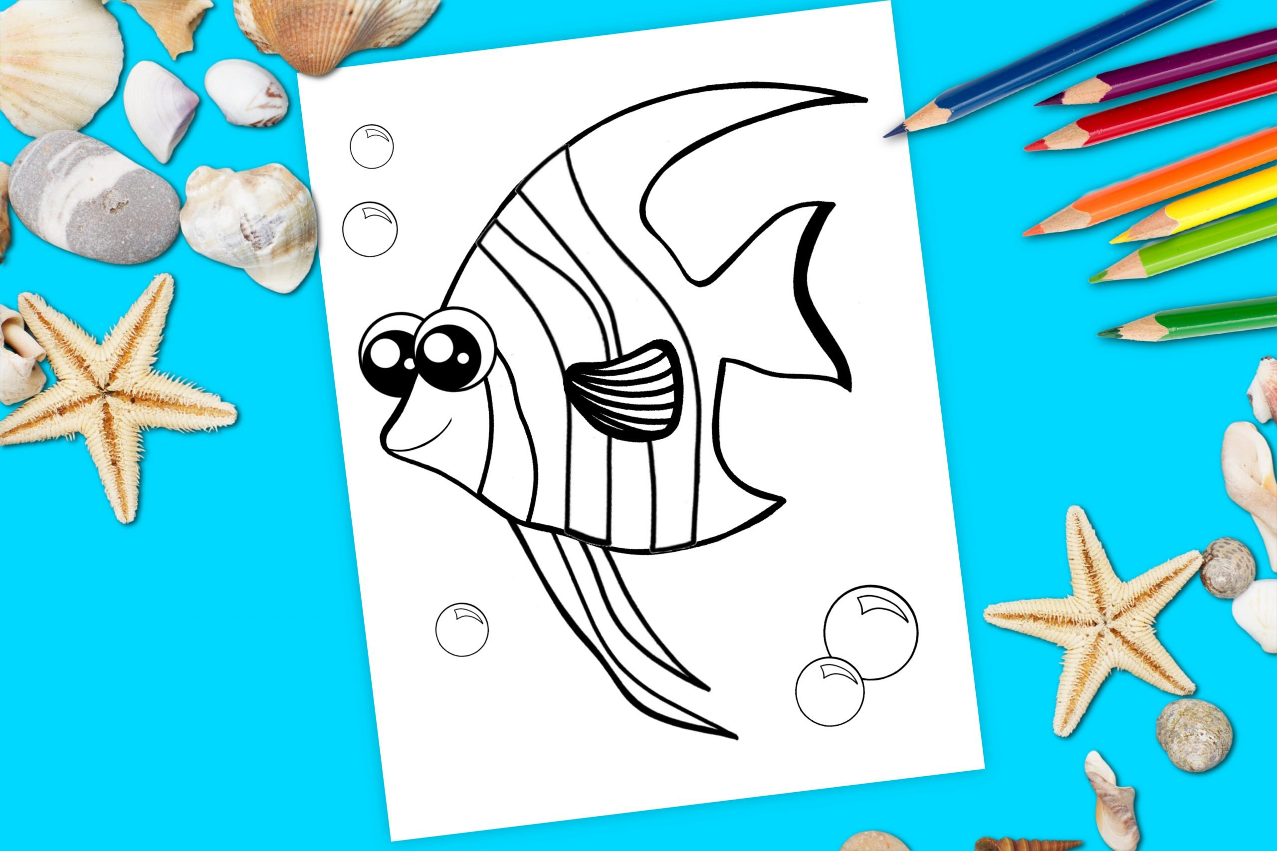 Free Printable Angel Fish Coloring Page for kids