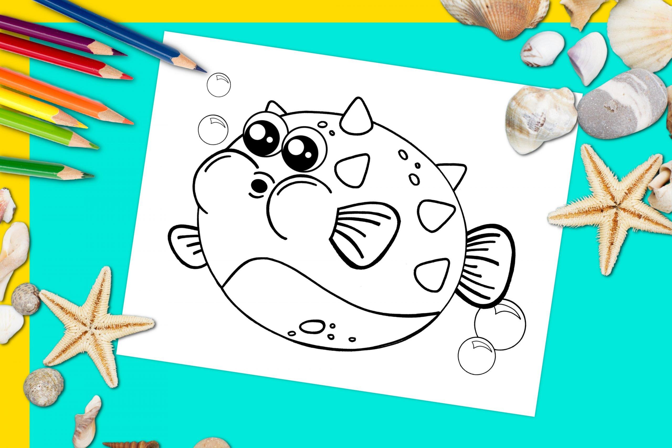 Free Printable Blowfish Pufferfish Ocean Animal Coloring Page for kids