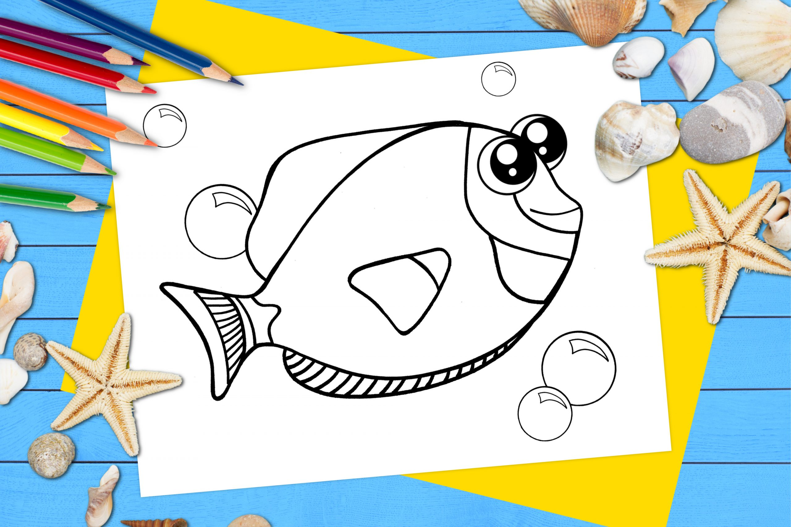 Free Printable Blue Tang Dory Fish Ocean Animal Coloring Page for kids
