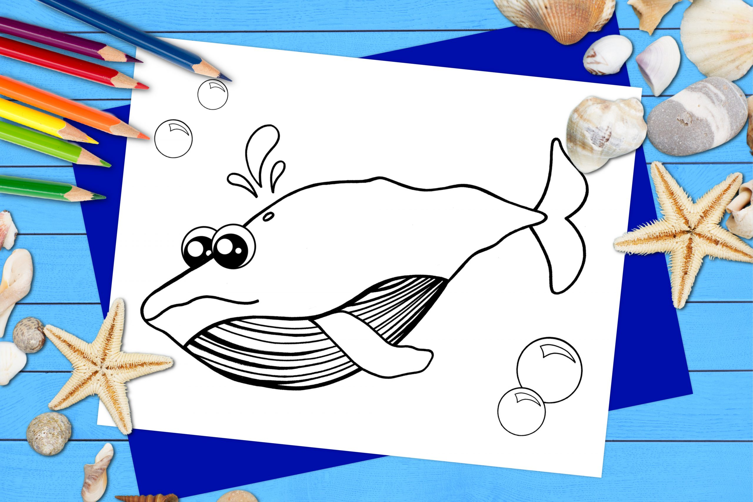 Free Printable Blue Whale Ocean Animal Coloring Page for kids