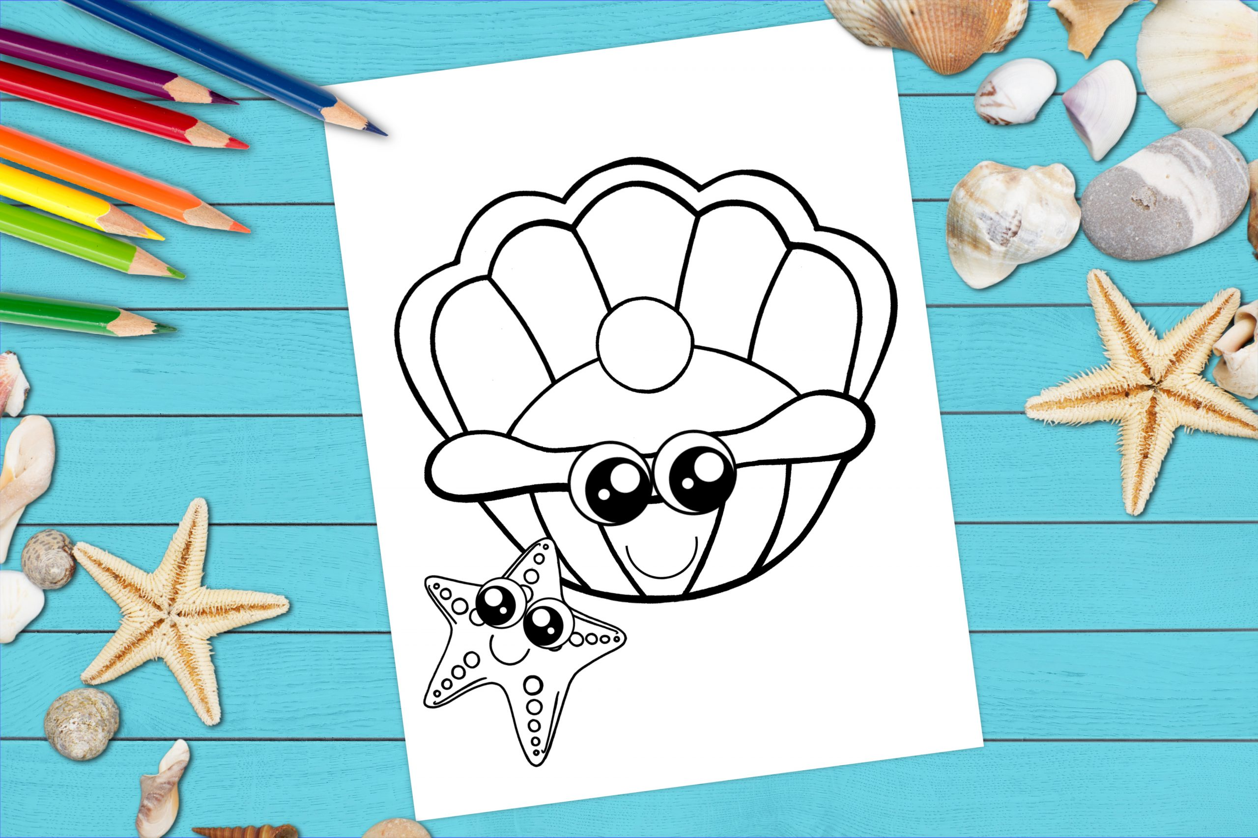 Free Printable Clam Shell Ocean Animal Coloring Page for kids