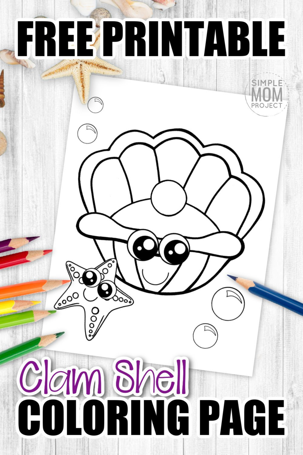 There's something special about the pearl inside of a giant clam. Click now to add this cute clam clip art coloring page to your ocean animal collection. Color the soft seashell purple, pink or whatever color your heart desires. Kids of all ages including preschoolers and toddlers will be lined up at the printer to get their copy of this free printable clam seashell coloring page! #seashellcoloringpage #clamcoloringpage #SimpleMomProject