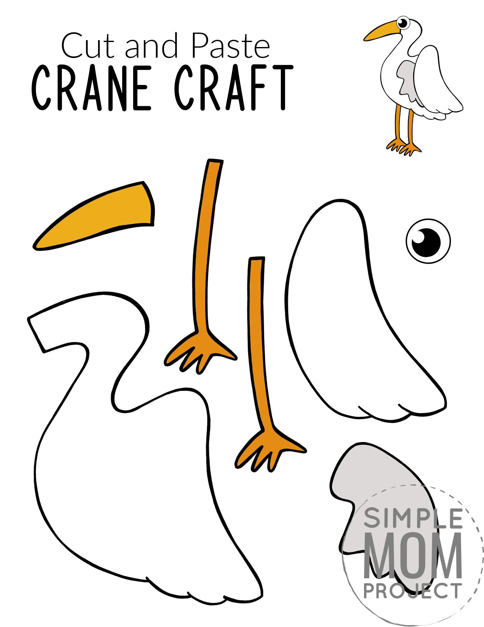 Free Printable Crane Craft for Kids, preschoolers toddlers and kindergartners