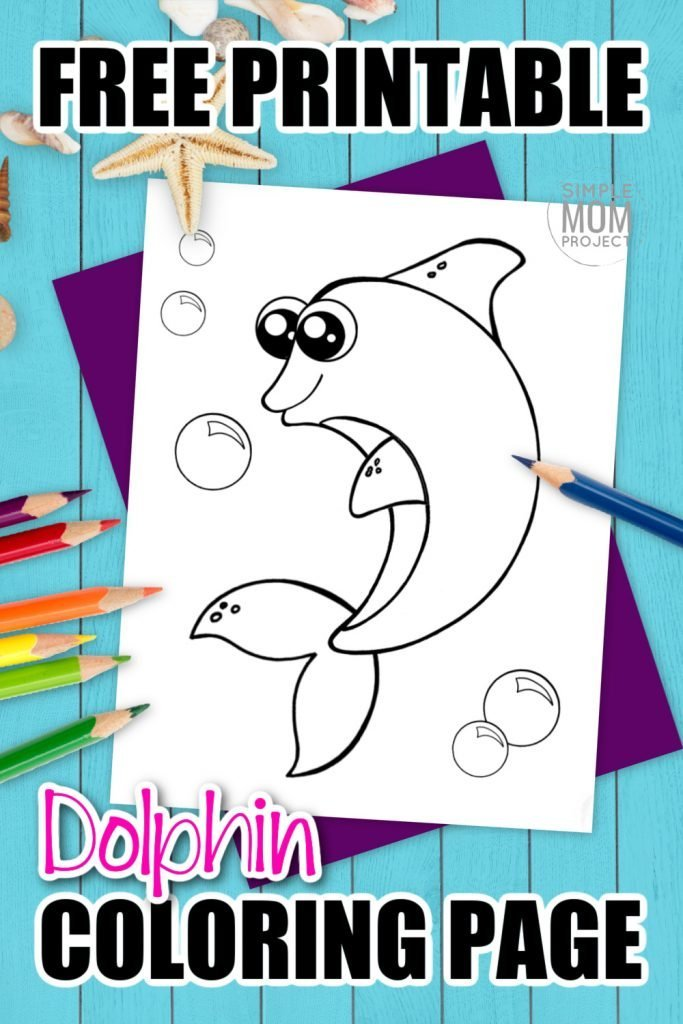 This free printable cute bottlenose baby dolphin coloring page is perfect for both kids and adults alike. Add it to your ocean animal coloring book. The cartoon dolphin worksheet is perfect for kids who love Barbie or just splashing in the water. Use the dolphin coloring sheet to teach the letter D and add it to your handwriting practice assignments. #dolphincoloringpage #oceananimalcoloringpage #SimpleMomProject