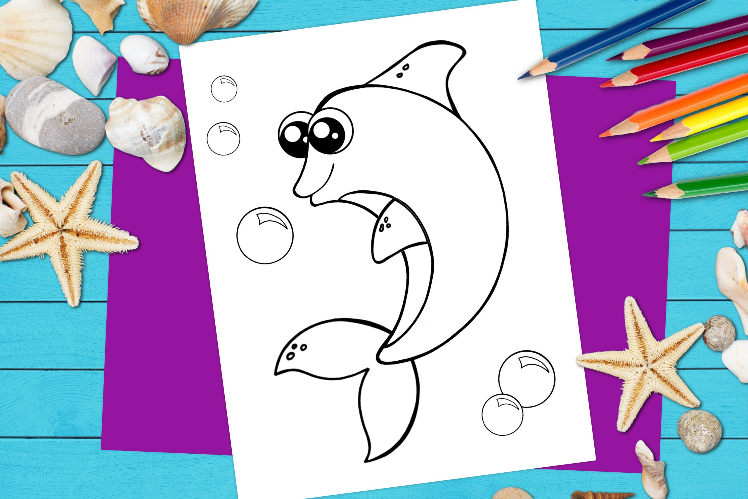 Free Printable Dolphin Ocean Animal Coloring Page for kids