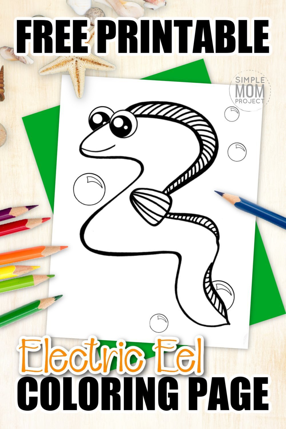 Electric Eel Fish are just another way to teach about the letter E. Why not add this adorable eel coloring page to your sea animal alphabet collection. Draw or sketch your favorite electric designs on him or just simply color him green. As a friend to the moray, guler and wolf eel, this fun eel coloring sheet is the perfect art project for kids of all ages! #eelcoloringpages #electriceelcoloringpage #SimpleMomProject
