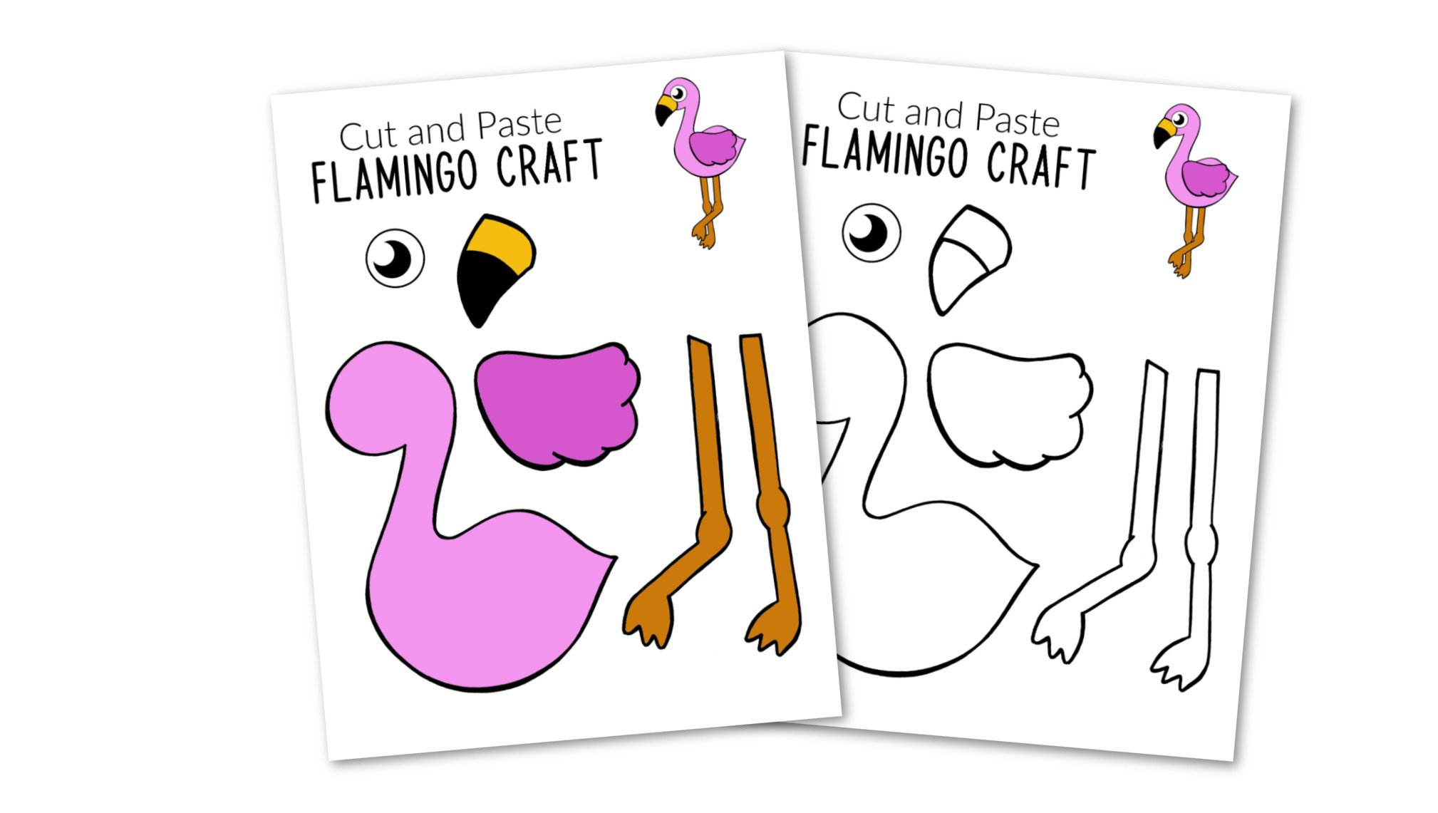Free Printable Flamingo Craft for Kids, preschoolers toddlers and kindergartners