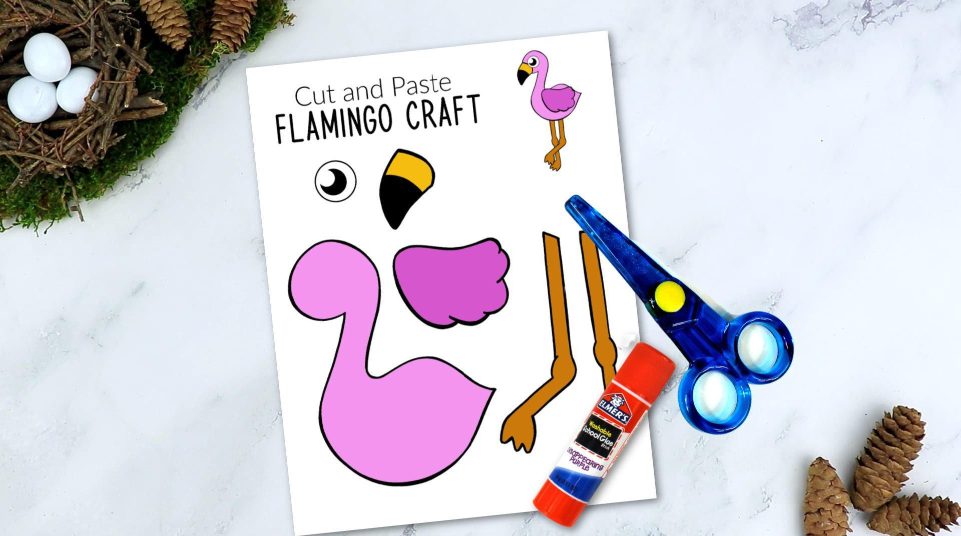 Free Printable Flamingo Craft for Kids, preschoolers toddlers and kindergartners