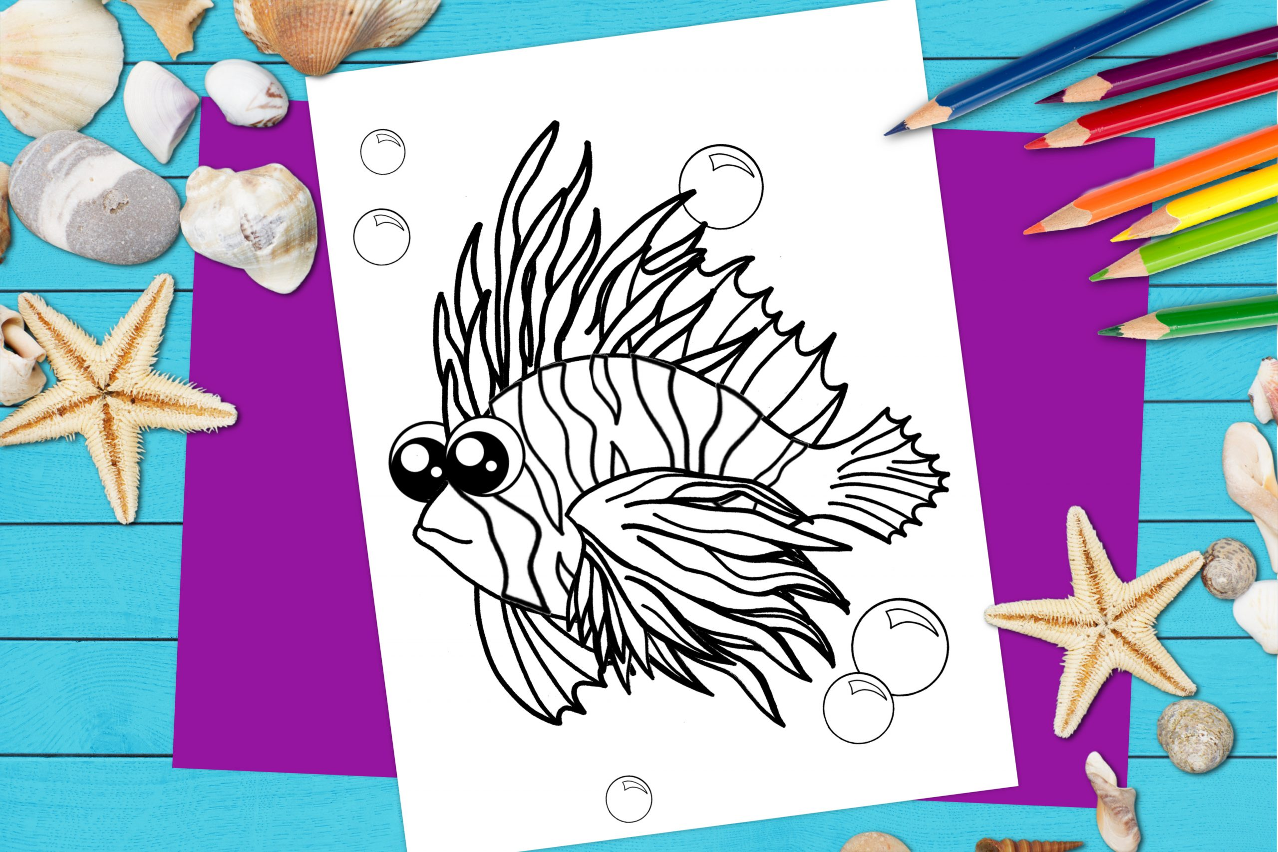 Free Printable Lionfish Ocean Animal Coloring Page for kids