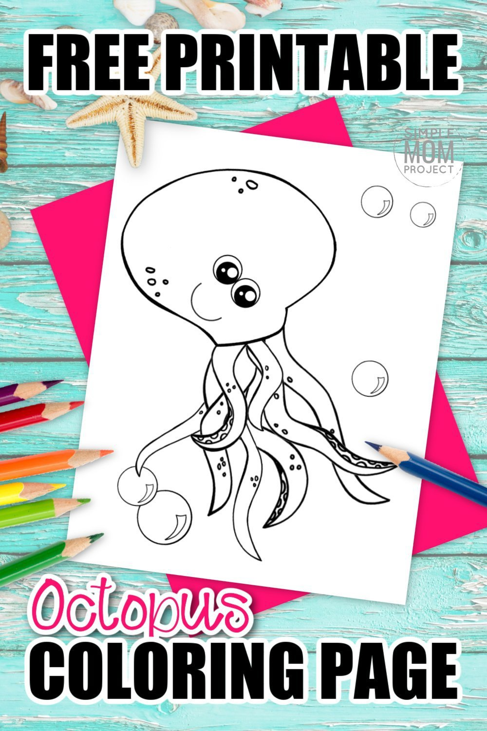Are you and your preschool students learning about the letter O in the alphabet? Use this free printable cartoon octopus coloring page to help! Start by drawing the letter O next to this cute octopus and sound out the letter. You can even teach your kids how octopus are invertebrate by outlining the cartoon character! Click and print your octopus coloring page today! #octopuscoloring #oceananimalcoloring #SimpleMomProject