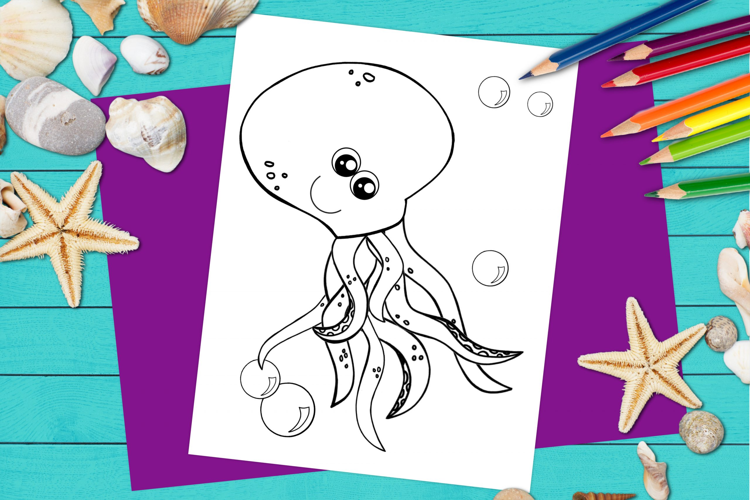 Free Printable Octopus Ocean Animal Coloring Page for kids