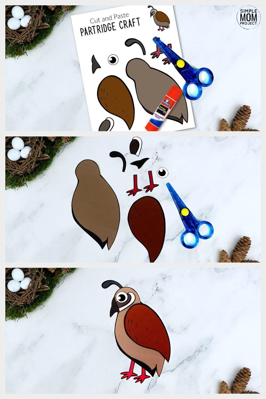 Free Printable Partridge Craft for Kids, preschoolers toddlers and kindergartners