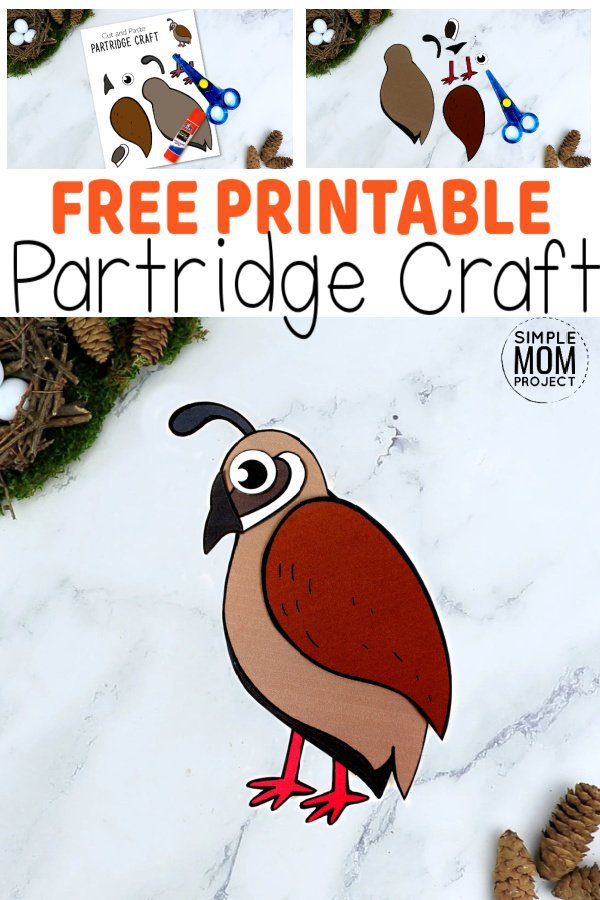 Here's a great way for your kids to learn the letter P with this simple Partridge craft. Our bird crafts are fun ideas for toddlers, preschoolers or kindergartners. With easy to follow, step by step instructions, this diy paper Partridge craft makes a colorful & creative craft idea, perfectly suited for a cold winter's day. Grab your free printable cut & paste Partridge craft today! #Partridgecrafts #Birdcraftsforkids