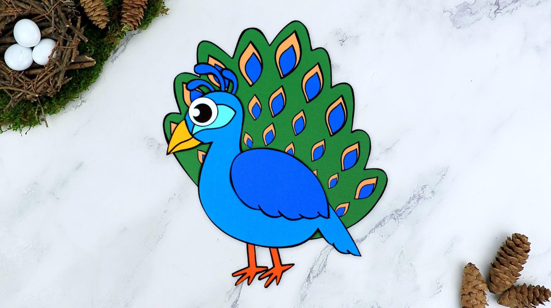 Free Printable Peacock Craft for Kids, preschoolers toddlers and kindergartners