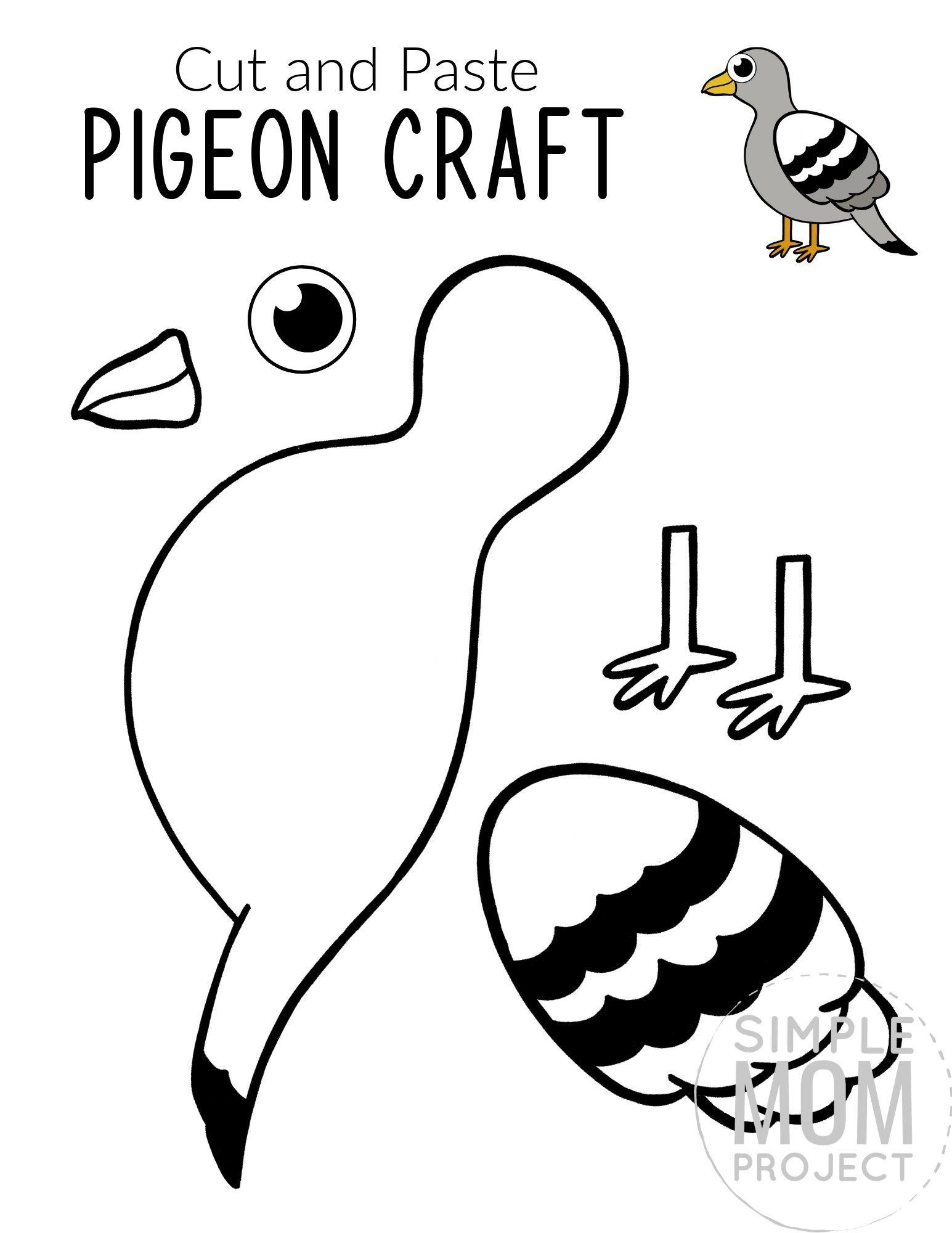 Free Printable Pigeon Craft for Kids, preschoolers toddlers and kindergartners