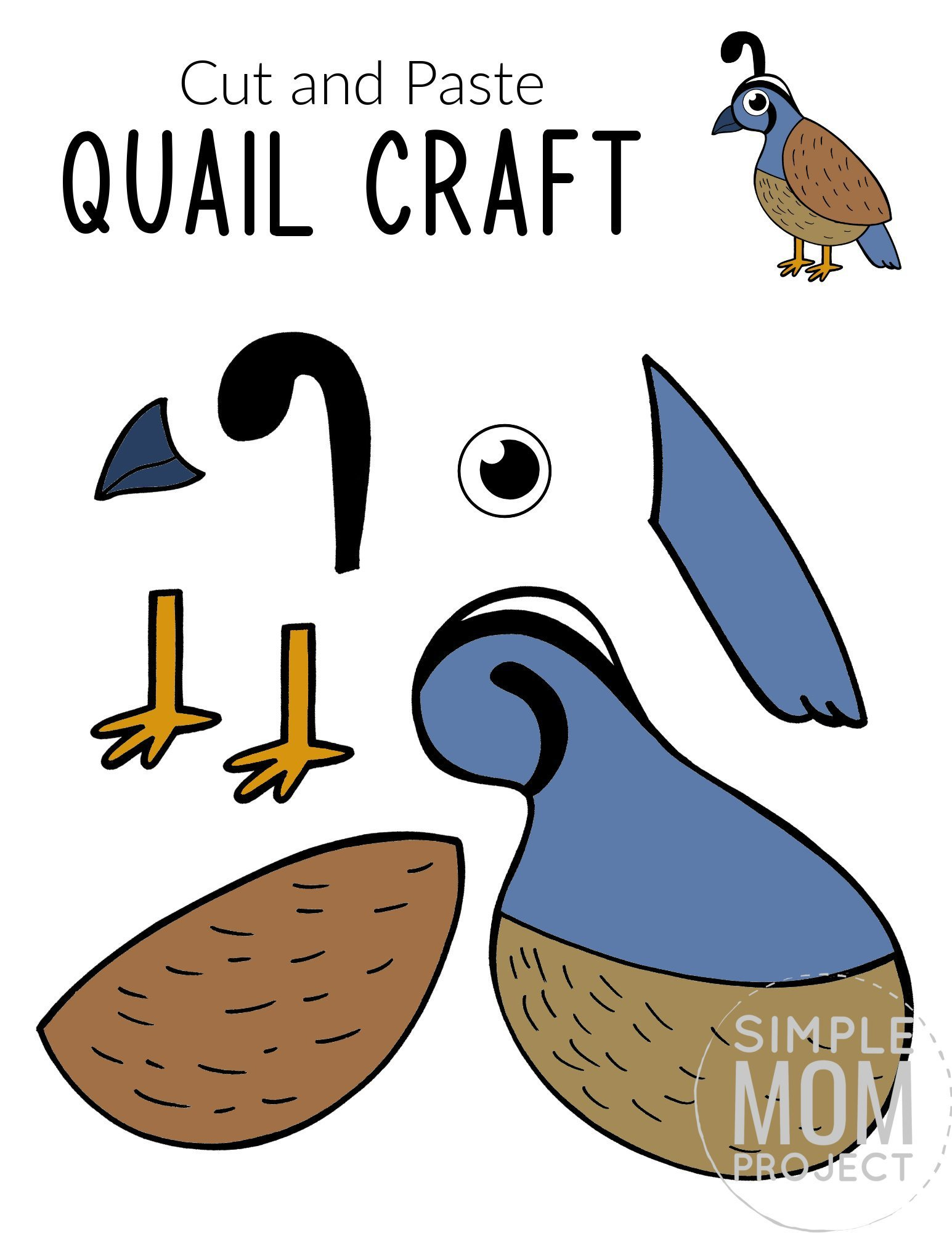 Free Printable Quail Craft for Kids, preschoolers toddlers and kindergartners