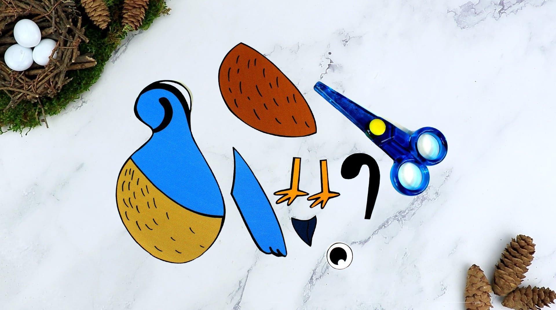 Free Printable Quail Craft for Kids, preschoolers toddlers and kindergartners