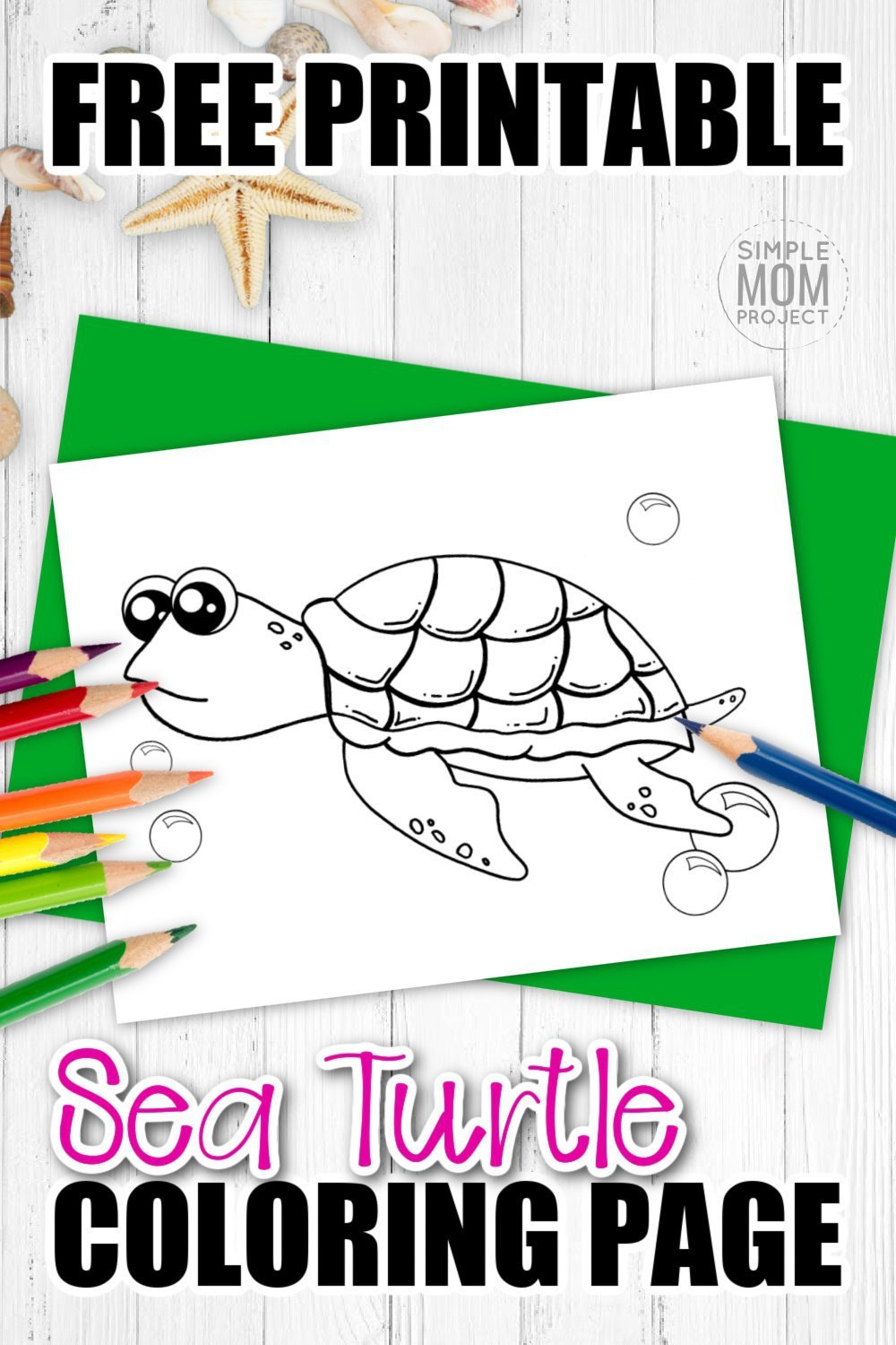 Are you looking for a baby sea turtle coloring page? This free to print cartoon turtle is perfect for kids of all ages including preschoolers, kindergartners and toddlers. You can use this free turtle template to teach your kids about the letter T or by starting your own ocean animal coloring book. Print yours now! #Seaturtlecoloring #turtlecoloring #Oceananimalcoloring #SimpleMomProject