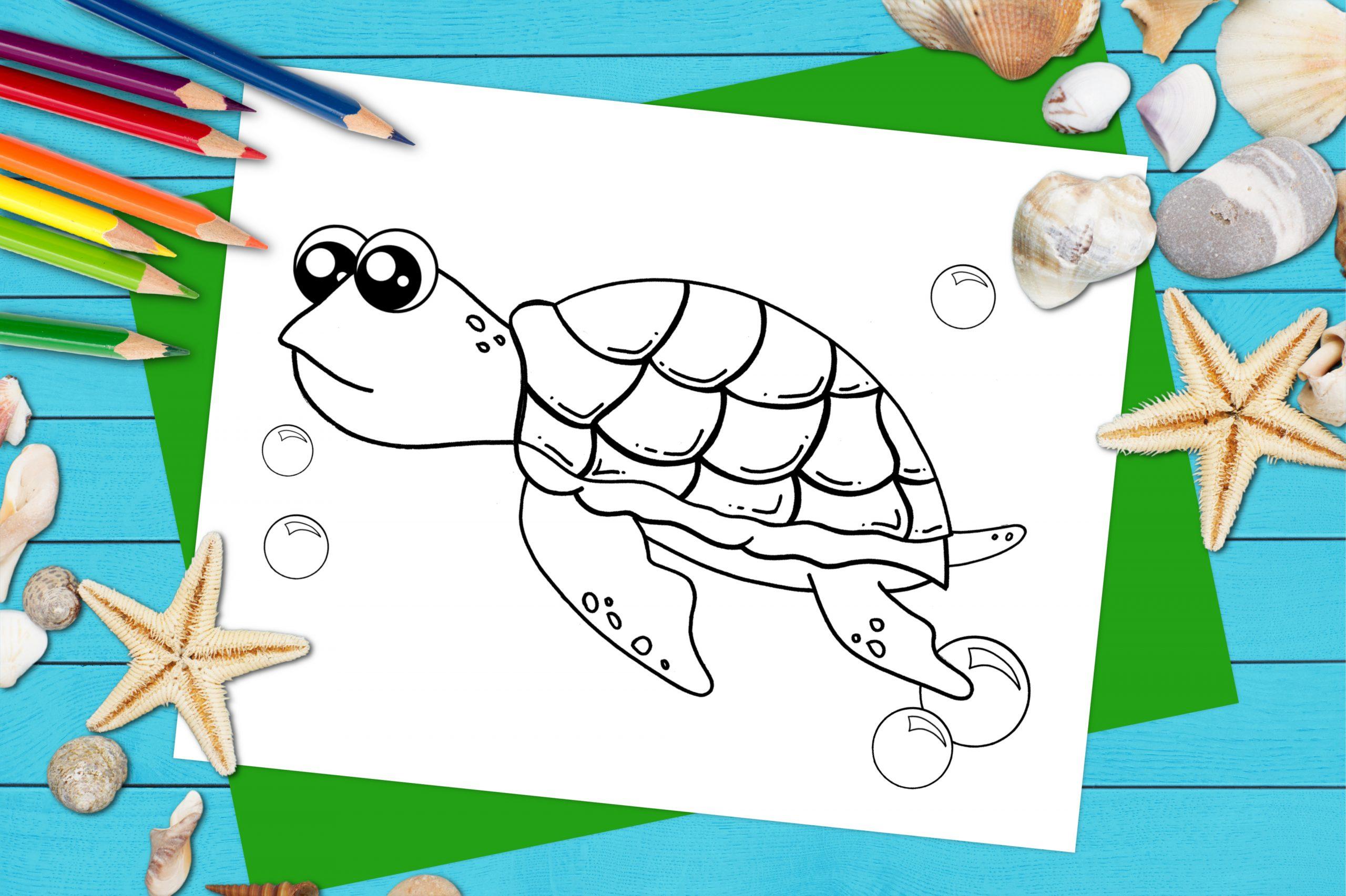 Free Printable Sea Turtle Ocean Animal Coloring Page for kids