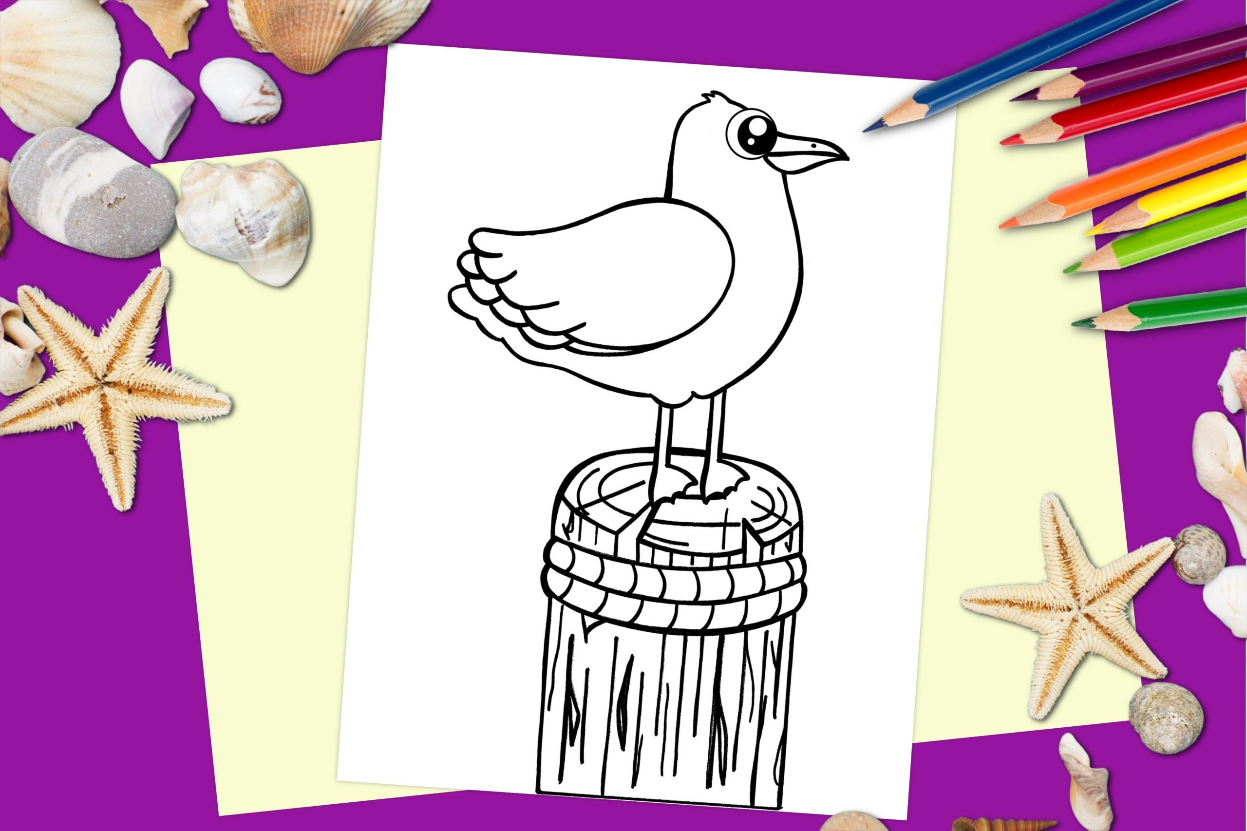ree Printable Seagull Ocean Animal Coloring Page for kids