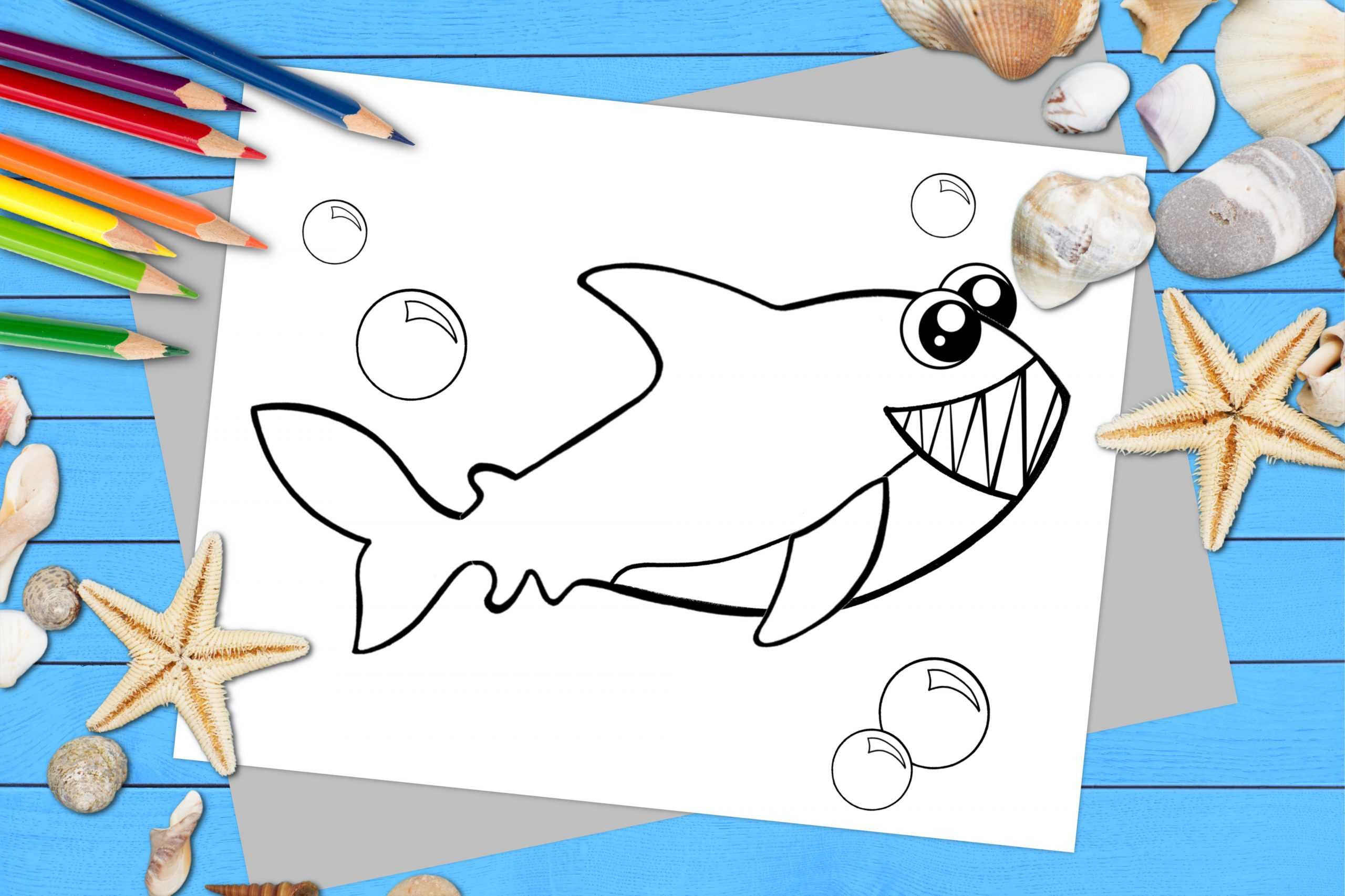 Free Printable Shark Ocean Animal Coloring Page for kids