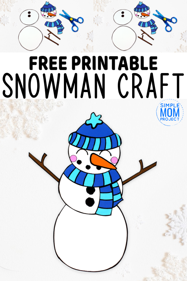 Do you want to build a frosty the snowman with your kids? Here's a simple cut & paste snowman craft which is ideal for winter craft time. With free printable templates, this cut & paste snowman craft is easy for preschool toddlers to make as an art project or even a craft activity for homeschoolers. Add some winter craft to your home decor with these cute cut & paste snowman crafts today! #snowmancrafts #cutandpastesnowmancrafts