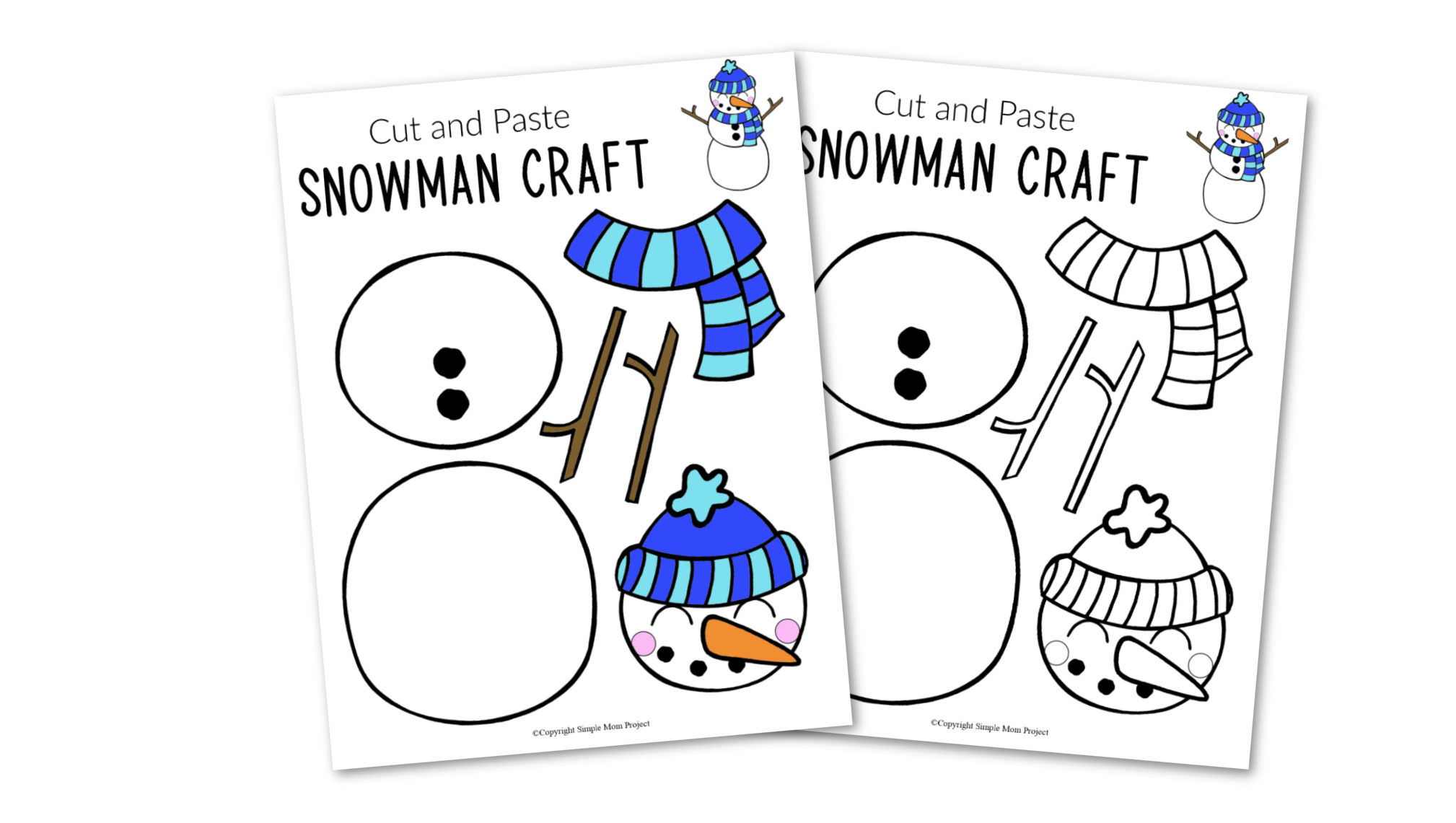Free Printable Snowman Craft for Kids, preschoolers, toddlers and kindergartners with snowman template