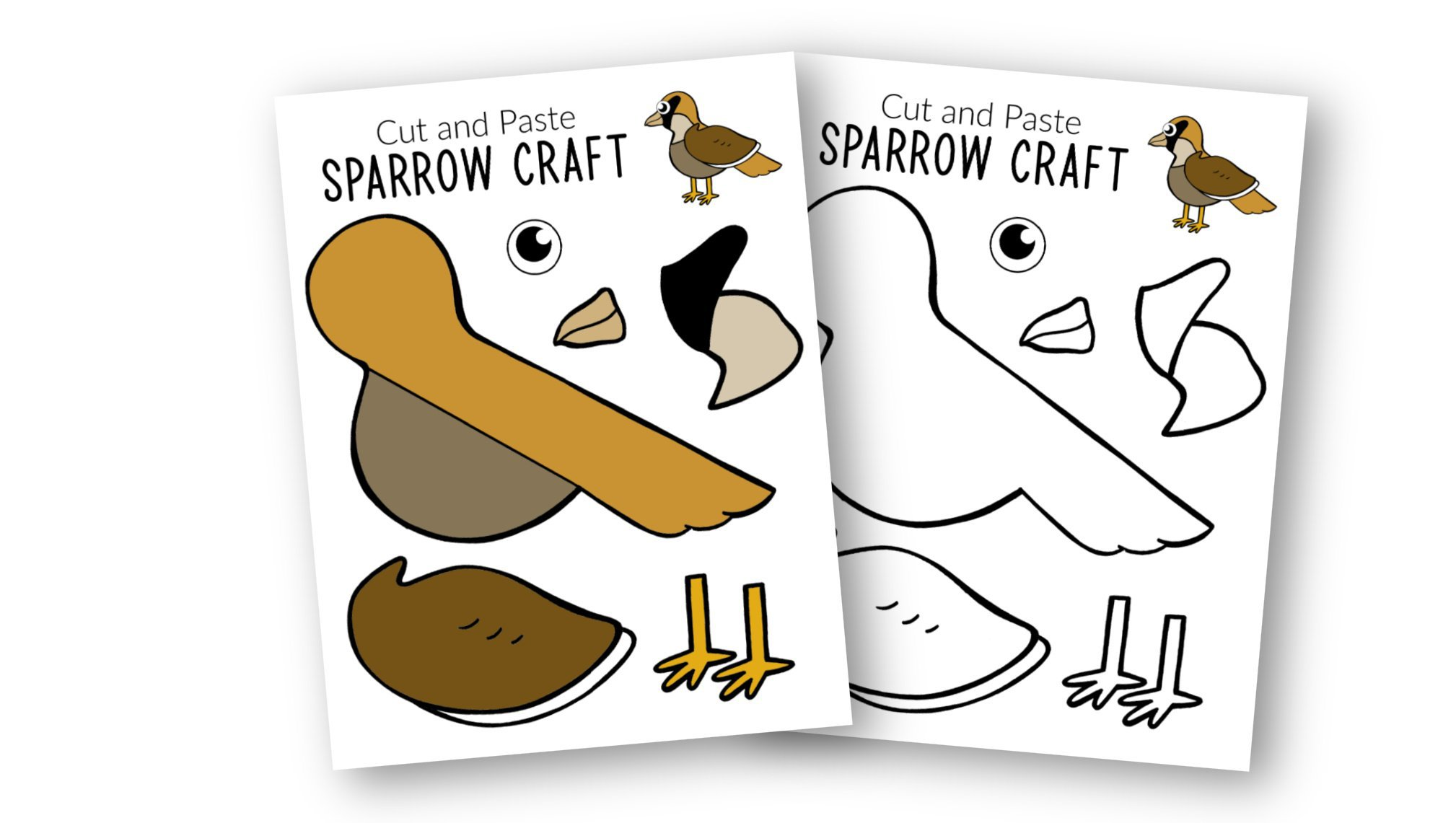 Free Printable Sparrow Craft for Kids, preschoolers toddlers and kindergartners