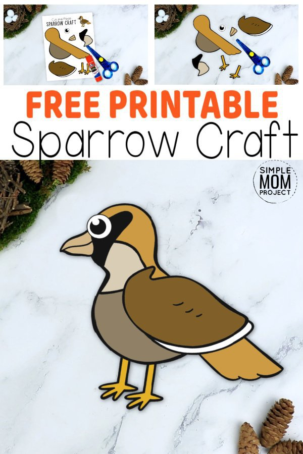 Are you looking for a chirpy & fun Sparrow craft for your kids? Here's an easy cut & paste Sparrow craft, with our free printable template. From toddlers & preschoolers to kindergartners & big kids, everyone loves the color & fun this simple Sparrow craft brings. So don't delay, grab your free printable cut & paste Sparrow craft today! #Sparrowcrafts #PaperSparrowcrafts