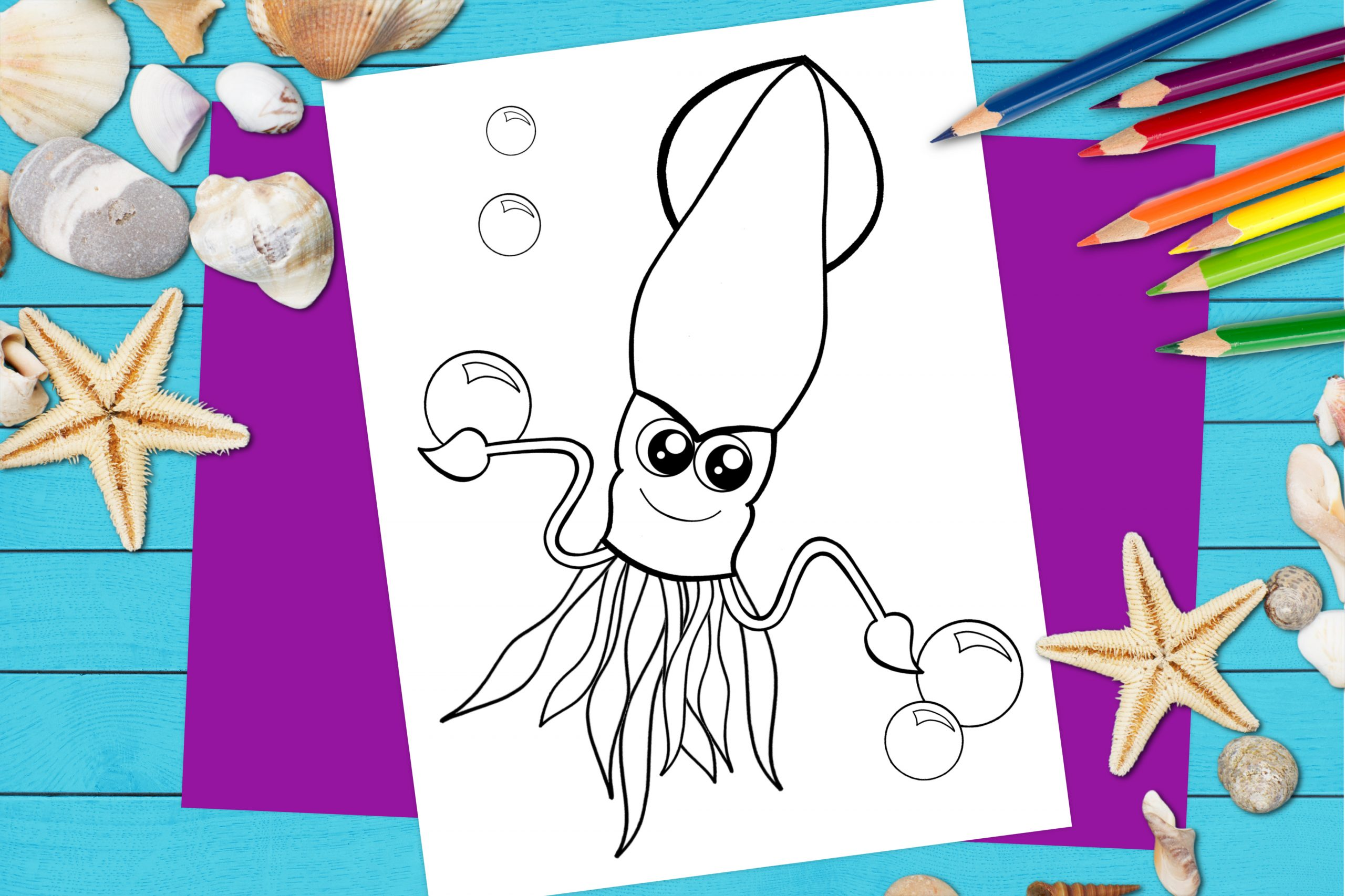 Free Printable Squid Ocean Animal Coloring Page for kids