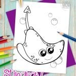 Is it a stingray or Manta ray? I can never tell. Either way, this famous ocean animal is the perfect addition to your fish and sea life supercoloring book! Whip your tail on over and print this free stingray coloring page now! It is perfect for kids of all ages, including preschoolers, toddlers and even adults love coloring this stingray too! #Stingraycoloring #oceananimalcoloring #SimpleMomProject