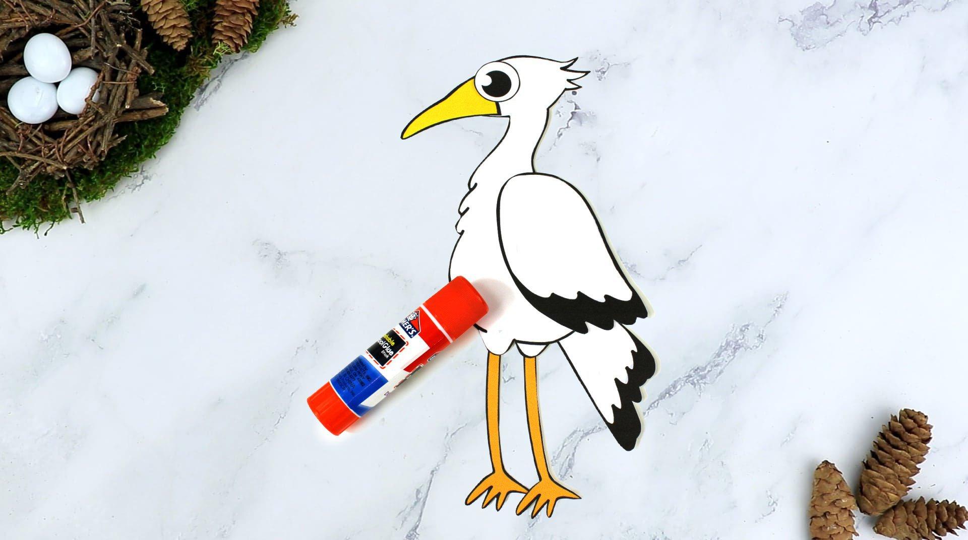 Free Printable Stork Craft for Kids, preschoolers toddlers and kindergartners