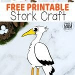 Here's a cute cut & paste Stork craft for your kids to color & create. With a free printable Stork template this is one of our most popular bird crafts! From toddlers to preschoolers, kindergartners to teens - everyone loves this fun Stork craft. Add some excitement to learning the letter S using this cut & paste Stork craft, from his big beak to his long legs he's waiting for you to print him up today! #Storkcrafts #PaperStorkcrafts