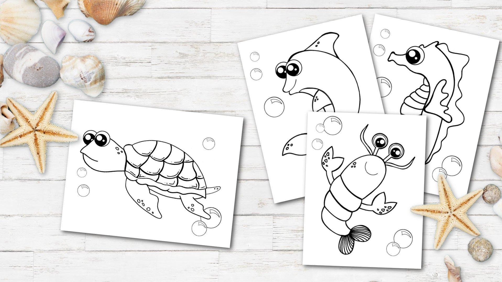 Printable Ocean Animal Coloring Book for kids, preschoolers and toddlers