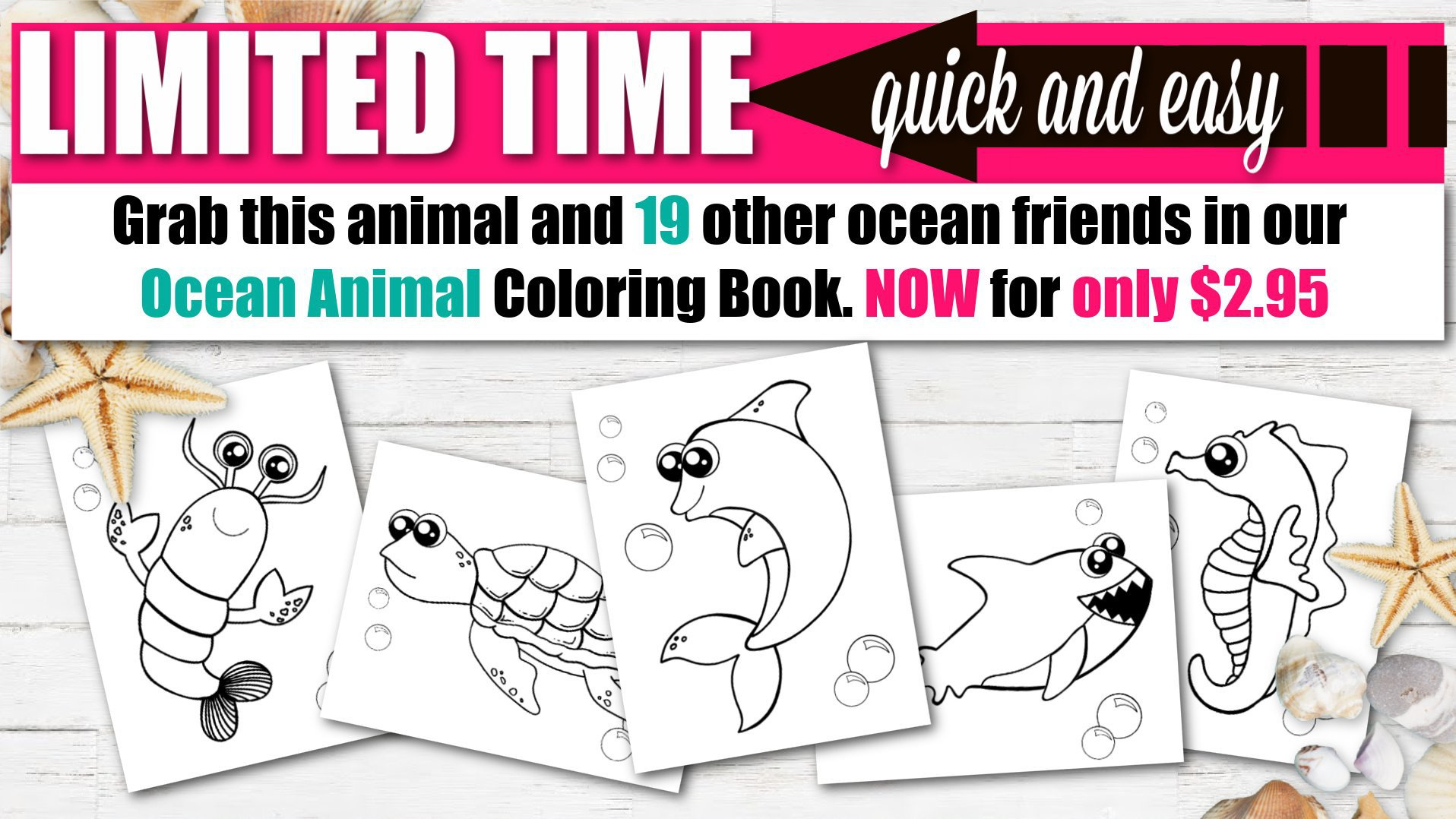 Printable Ocean Animal Coloring Book for kids, preschoolers and toddlers