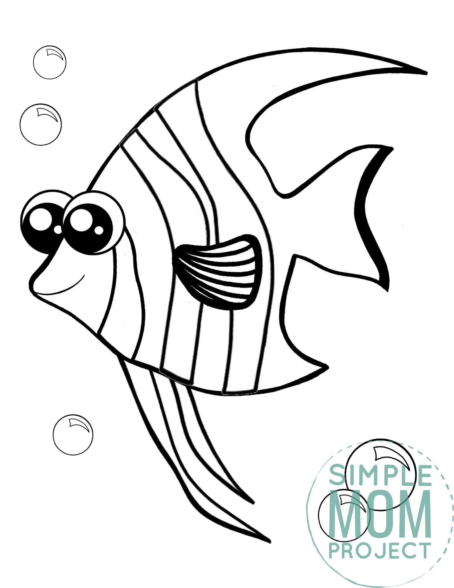Printable Angelfish Ocean Animal Coloring Page for Kids