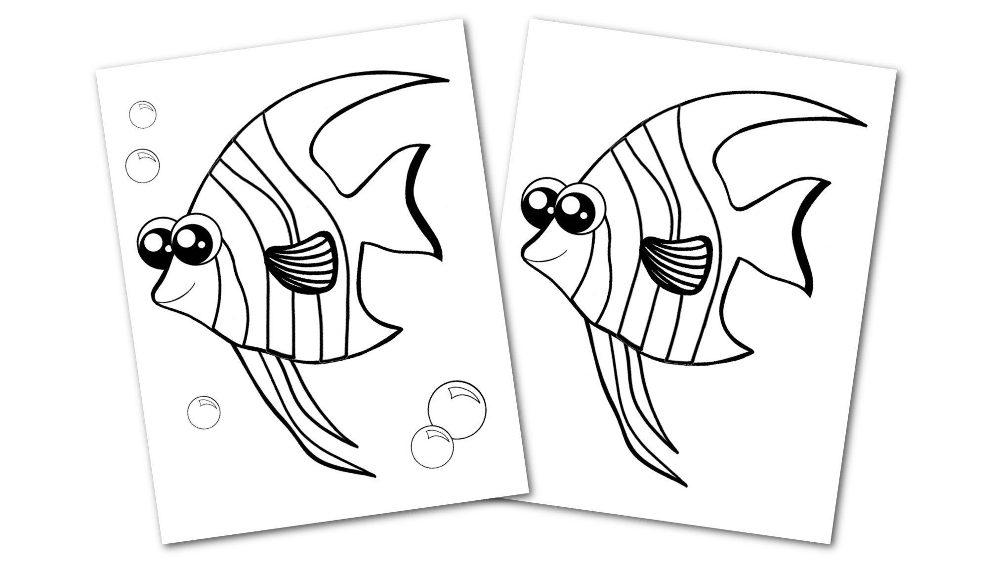 Free Printable Angelfish Ocean Animal Convertkit for Toddlers, Kids and Preschoolers