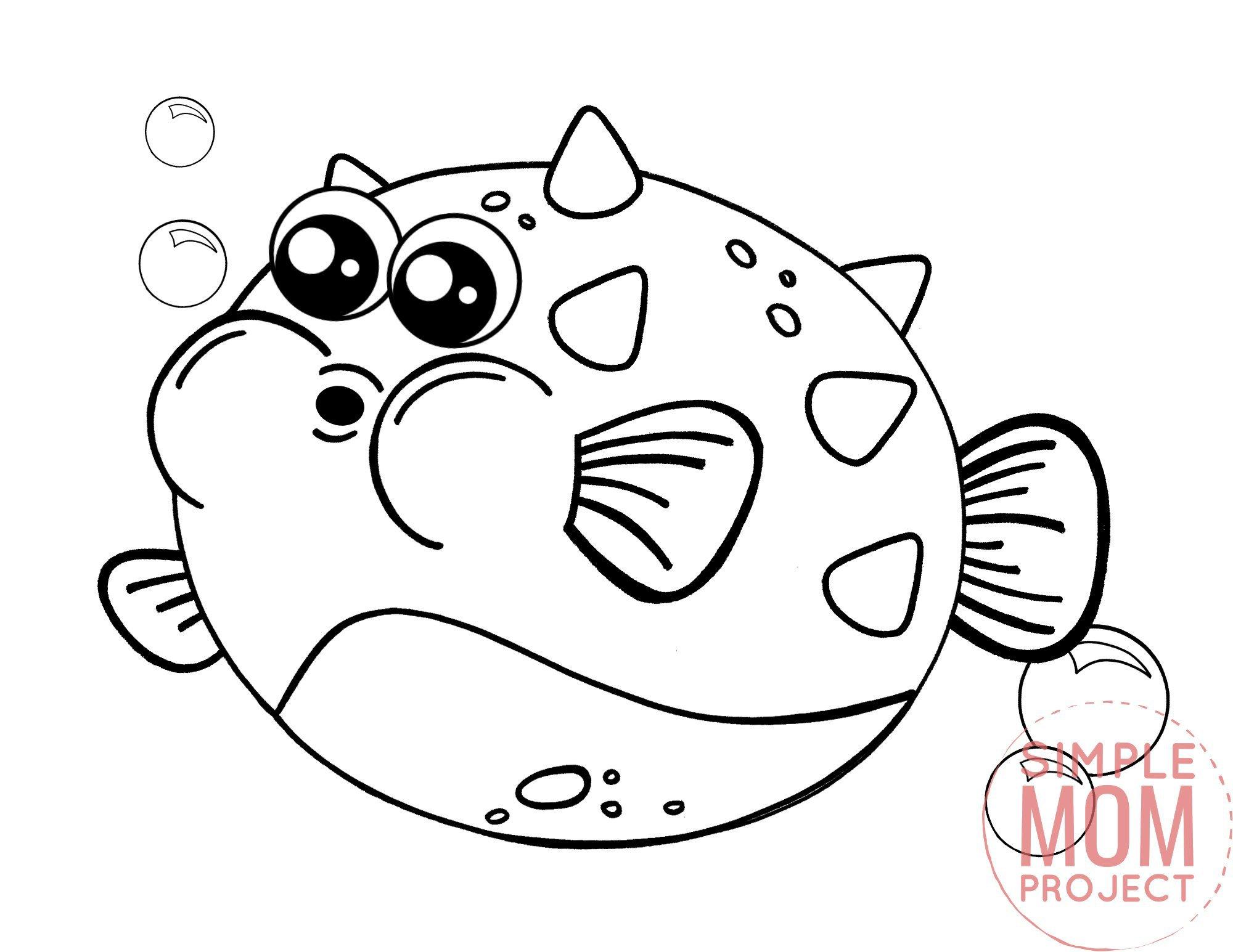 Printable Blowfish Ocean Animal Coloring Page for Kids