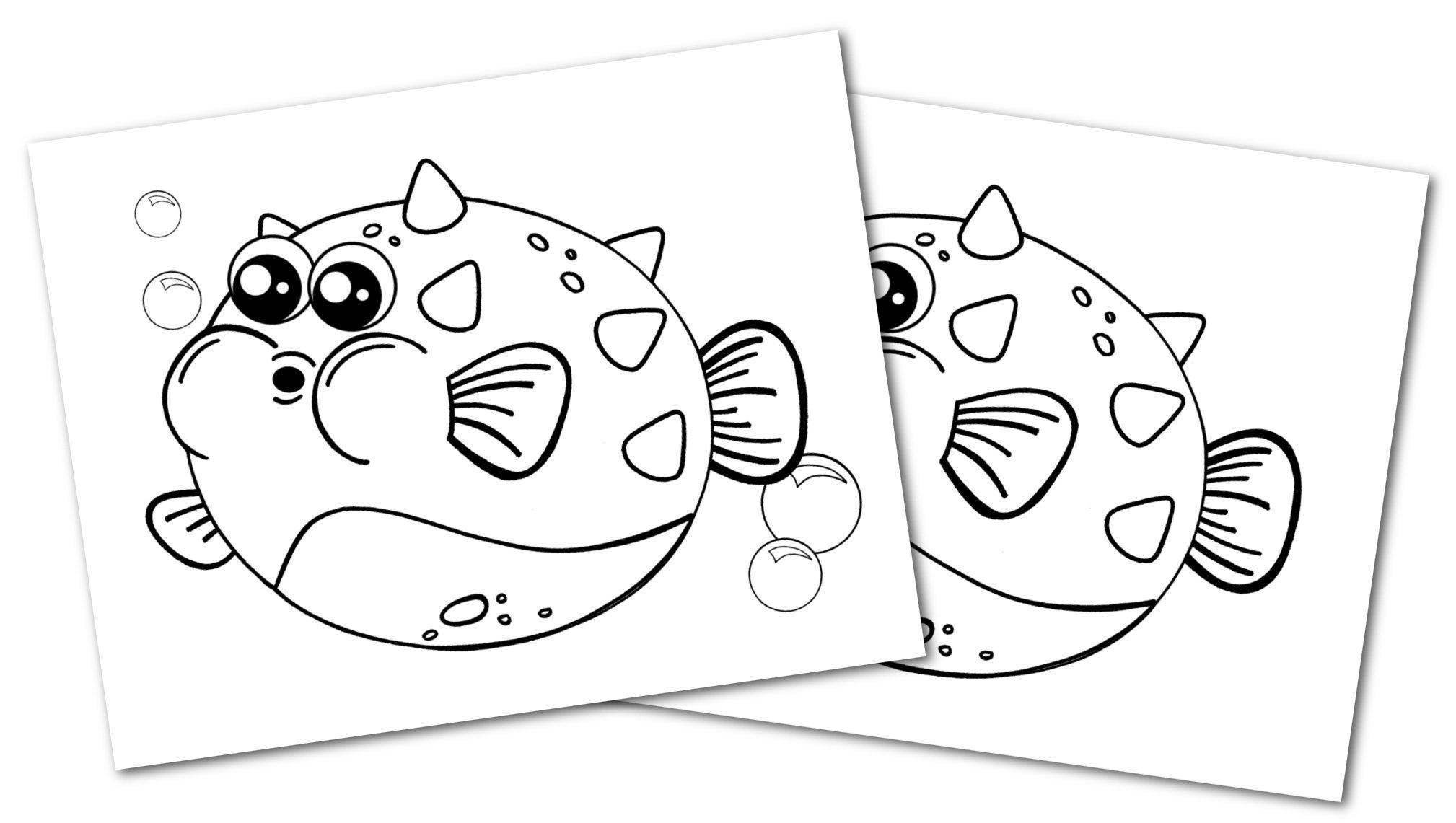 Free Printable Blowfish Ocean Animal Convertkit for Toddlers, Kids and Preschoolers