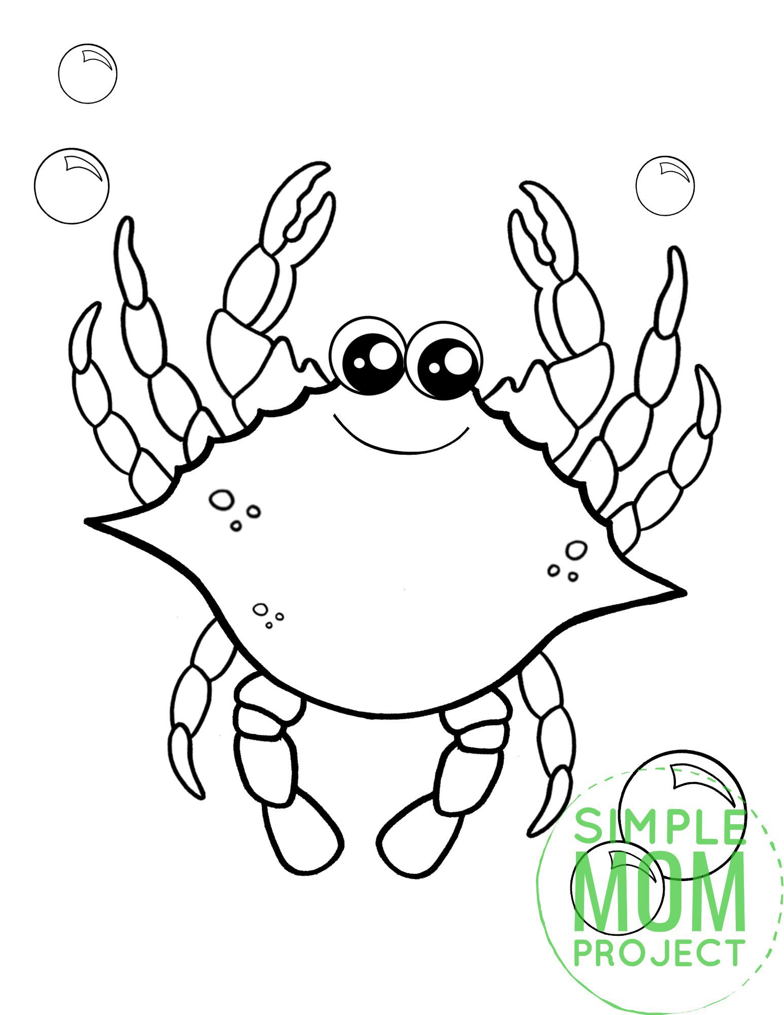 Printable Blue Crab Ocean Animal Coloring Page for Kids