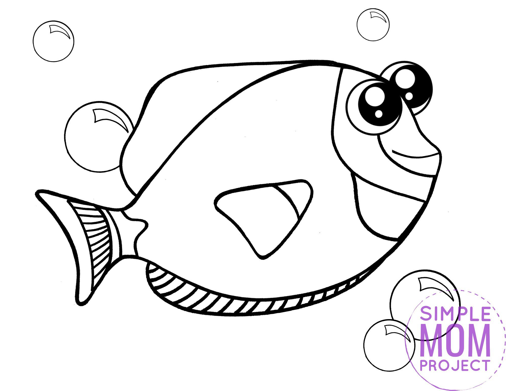 Printable Blue Tang Ocean Animal Coloring Page for Kids