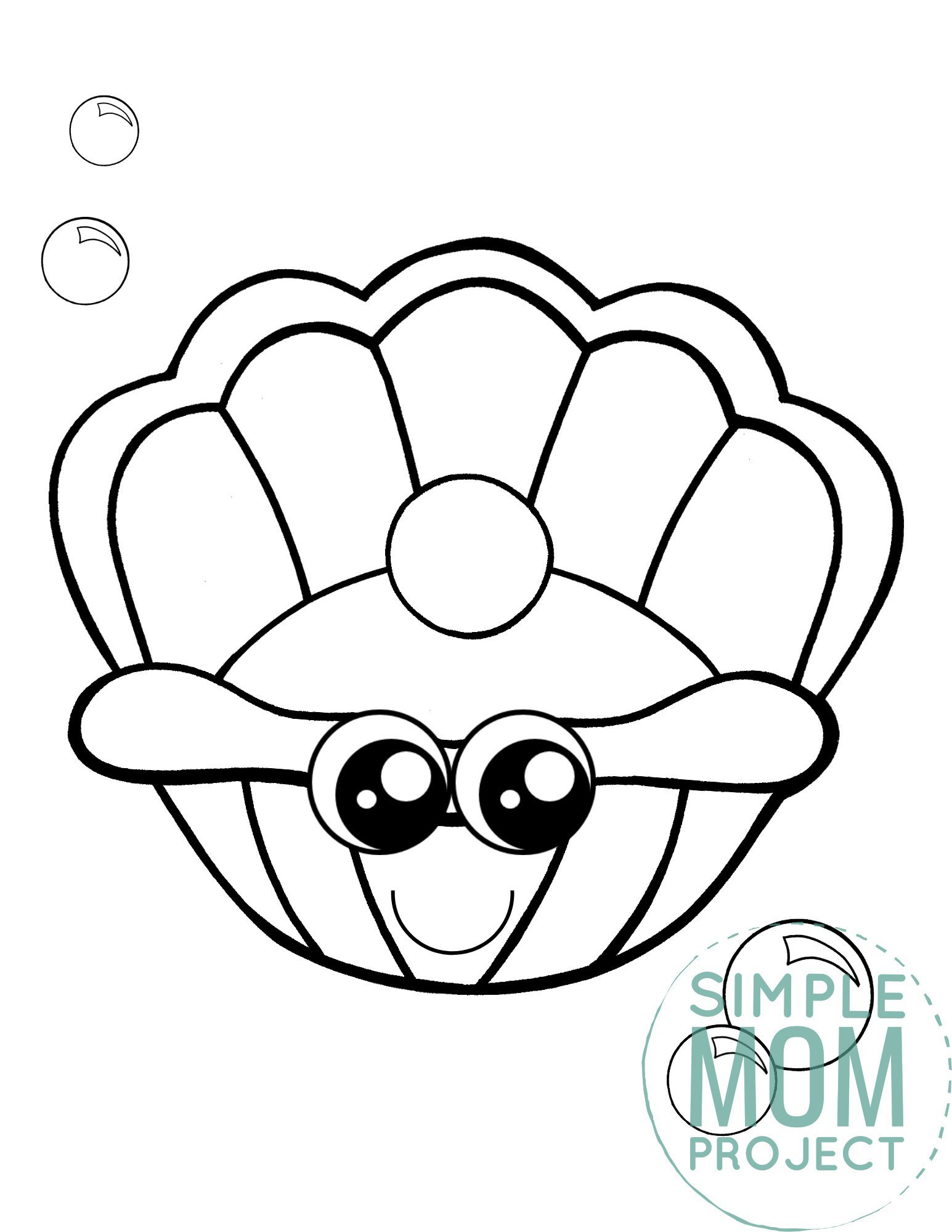 Printable Clam Shell Ocean Animal Coloring Page for Kids