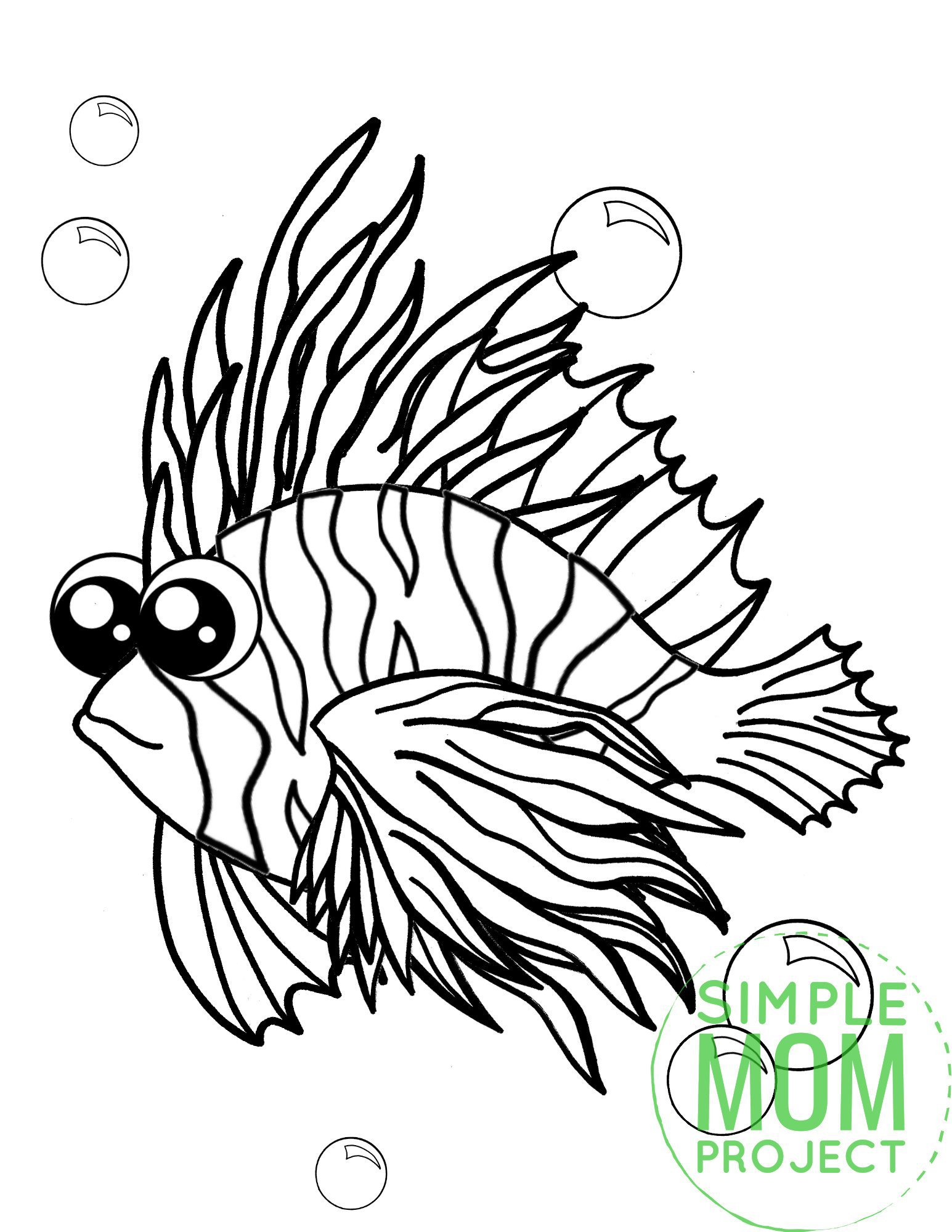 Printable Lionfish Ocean Animal Coloring Page for Kids