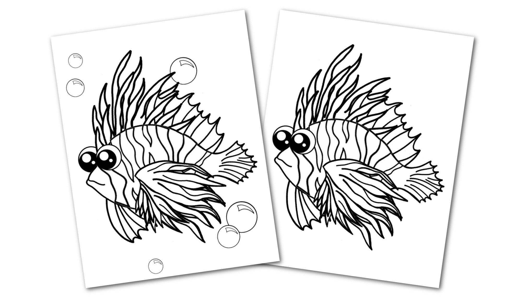 Free Printable Lionfish Ocean Animal Convertkit for Toddlers, Kids and Preschoolers