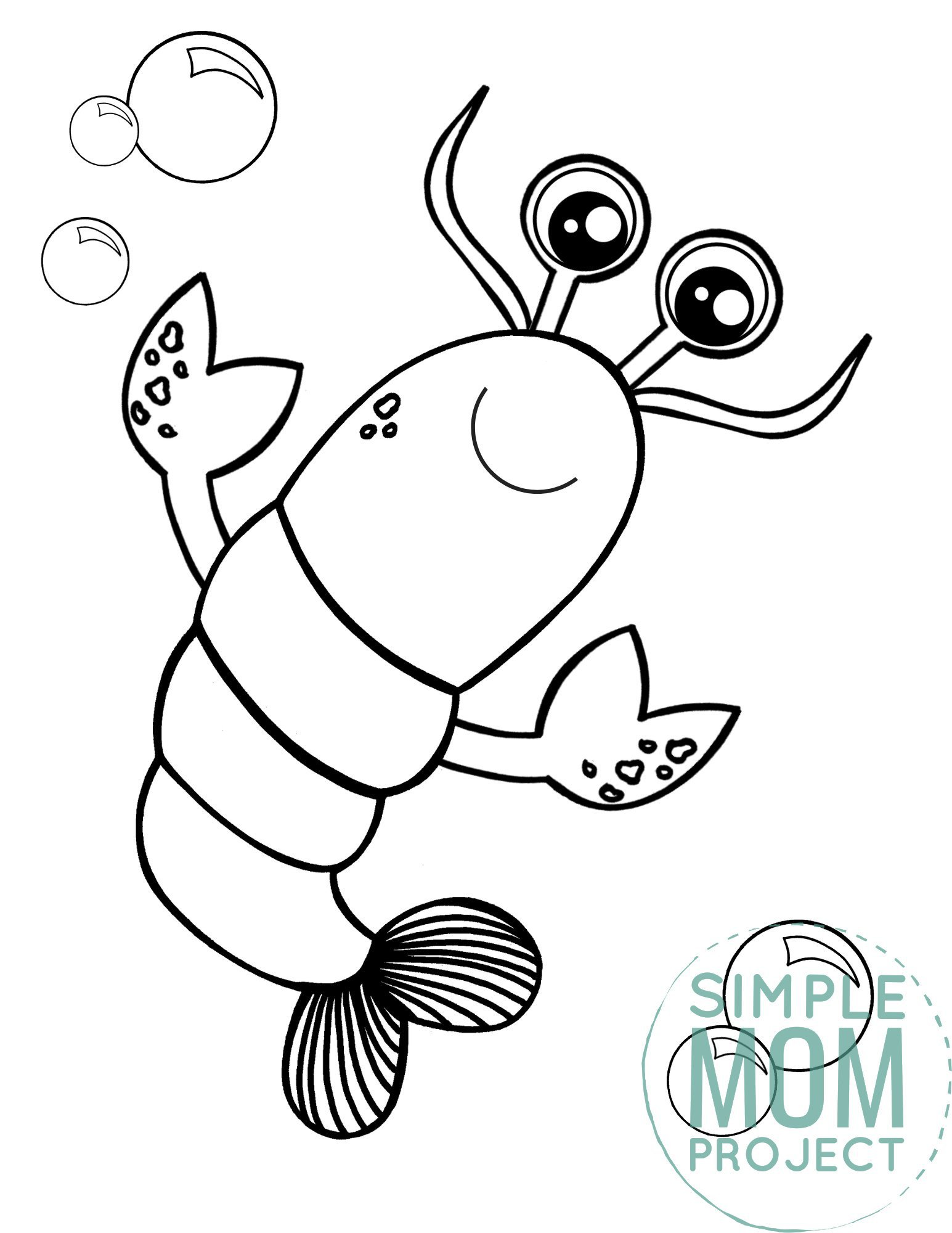 Printable Lobster Ocean Animal Coloring Page for Kids