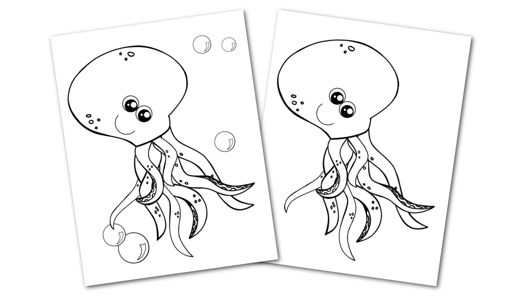 Free Printable Octopus Ocean Animal Convertkit for Toddlers, Kids and Preschoolers