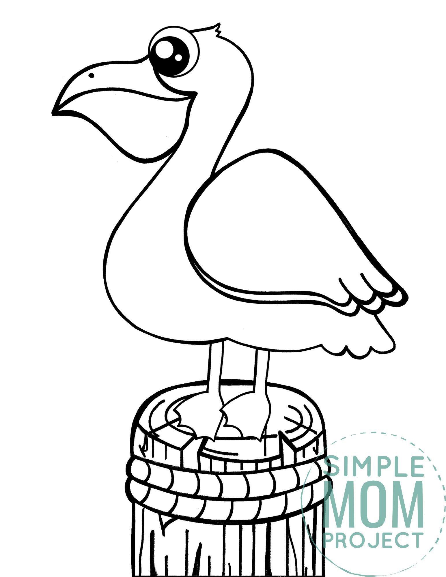 Printable Pelican Ocean Animal Coloring Page for Kids